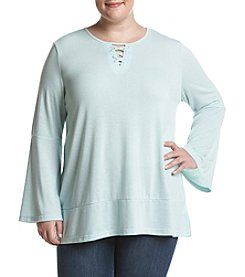 Fever Plus Size Ribbed Lace Up Tee