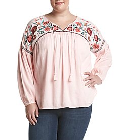 Ruff Hewn Plus Size Floral Embroidered Detail Peasant Top