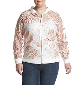 Ruff Hewn GREY Plus Size Floral Print Lace Bomber
