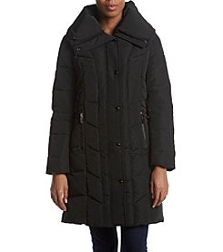 Kenneth Cole Wide Collar Quilted Down Coat