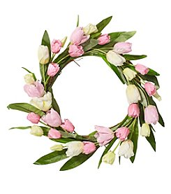 Living Quarters Flower Shop Pink Yellow Tulip Wreath