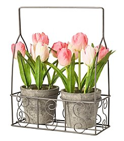 Living Quarters Flower Shop Tulips In Basket Set