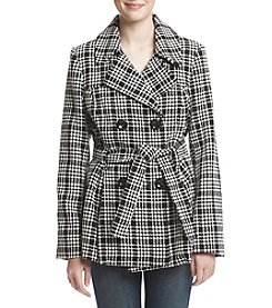 Rampage Tie Belt Plaid Coat