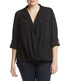 MICHAEL Michael Kors Plus Size Draped Safari Top