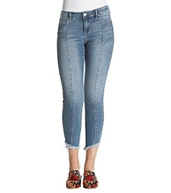 Celebrity Pink Asymmetrical Fray Hem Ankle Jeans