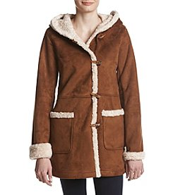 Jones New York Faux Shearling Trim Coat