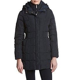 Cole Haan Down Bib Inset Design Quilted Coat