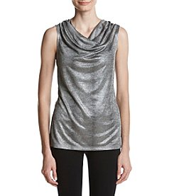 Kasper Glitter Cowl Neck Top