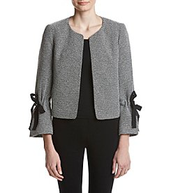 Nine West Tie Cuff Bell Sleeve Tweed Jacket