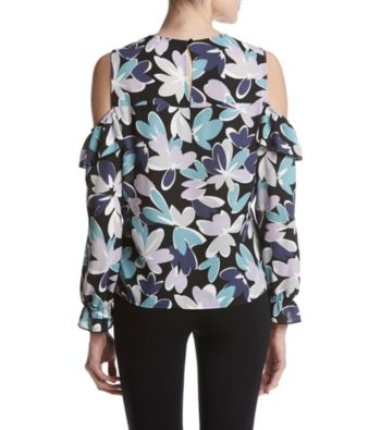 Nine West Cold Shoulder Cutout Floral Printed Top