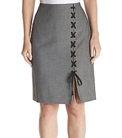 Nine West Lace Up Detail Midi Skirt
