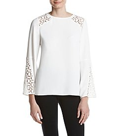 Kasper Lace Inset Detail Bell Sleeve Top