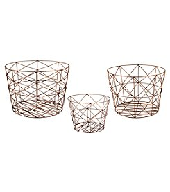 Dimond Nested Geometric Copper Baskets