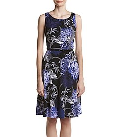 Nine West Floral Print Fit And Flare Belted Dress