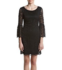 Nine West Lace Illusion Design Bell Sleeve Dress