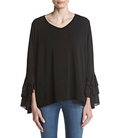 Cupio Plus Size Tiered Ruffle Sleeve Top