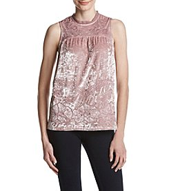 Adiva Crushed Velvet Floral Embroidered Top