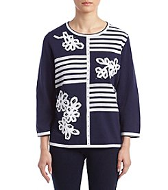 Alfred Dunner Petites' Blocked Stripe Sweater