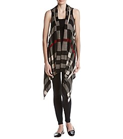 Fever Plaid Pattern Drape Hem Vest