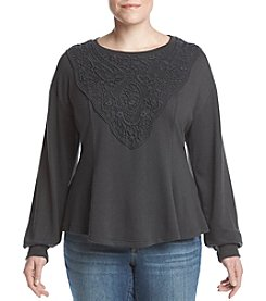 Skylar & Jade by Taylor & Sage Plus Size French Terry Long Sleeve Lace Applique Top