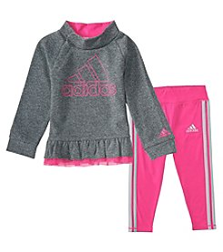 adidas Baby Girls' 12M-24M Long Sleeve Top and Leggings Sparkle Set