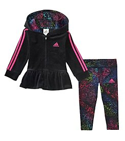 adidas Baby Girls' 12M-24M Velour Jacket and Leggings Set