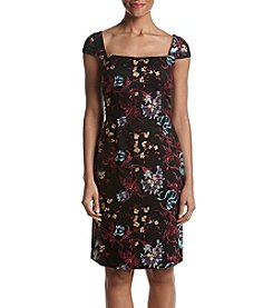 Nicole Miller New York Floral Embroidery Applique Square Neck Dress