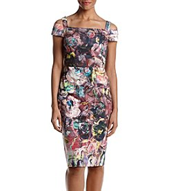 Nicole Miller New York Cold Shoulder Abstract Floral Paint Pattern Dress