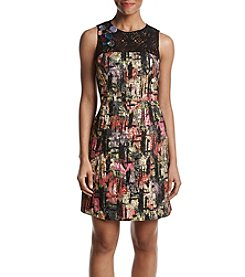 Nicole Miller New York Lace Yoke Jewel Detail Abstract Pattern Dress