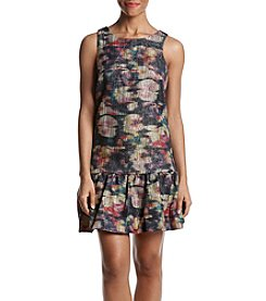 Nicole Miller New York Ruffle Hem Abstract Glitter Floral Pattern Dress