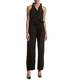 Nicole Miller New York Ruffle V-Neck Jumpsuit