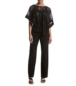 R&M Richards Sequin Lace Poncho Pants Set