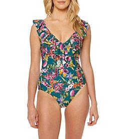 Jessica Simpson Ruffle Floral One Piece Swimsuit