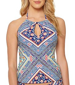 Jessica Simpson High Neck Keyhole Cutout Floral Striped Pattern Halterkini Top