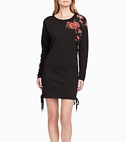 Jessica Simpson Floral Embroidered Detail Sweatshirt Dress
