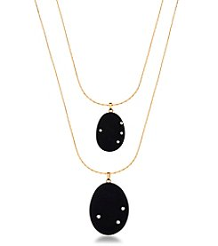 Robert Rose Goldtone Black Stone Double Necklace