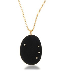 Robert Rose Goldtone Black Stone Necklace