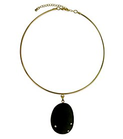 Robert Rose Goldtone Black Stone Collar Necklace