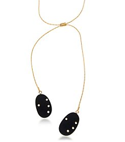 Robert Rose Goldtone Black Stone Strand Necklace