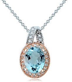 Sterling Silver Multi Stone Oval Pendant Necklace