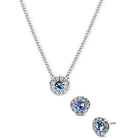 Givenchy Silvertone Pave Blue Stone Necklace And Earrings Set