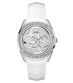 GUESS Women's Crystal Round Face White Leather Strap Watch