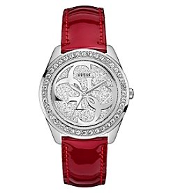 GUESS Women's Crystal Round Face Red Leather Strap Watch