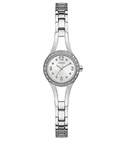 GUESS Women's Silvertone Crystal Round Face Watch