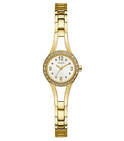 GUESS Women's Goldtone Crystal Round Face Watch