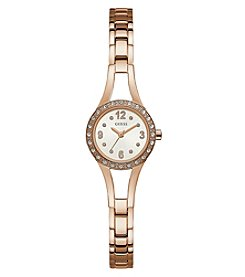 GUESS Women's Rose Goldtone Crystal Round Face Watch