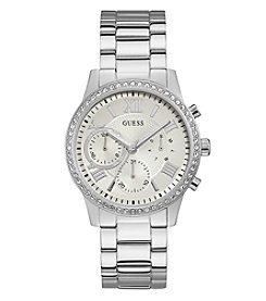 GUESS Women's Stainless Steel Clear Crystal Round Face Watch