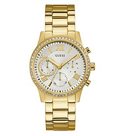 GUESS Women's Goldtone Clear Crystal Round Face Watch