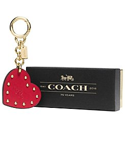 COACH BOXED STUDDED HEART BAG CHARM