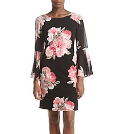 Jessica Howard Floral Pattern Sheer Bell Sleeve Dress
